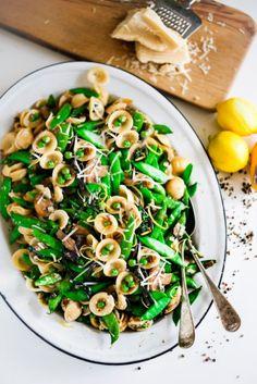 "Spring Pasta Carbonara with Fresh Peas, Asparagus and Burrata with Orchetti - aka, ""little ear"" pasta) in a light carbonara sauce. | www.featstingathome.com"