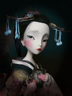 """Madame Butterfly"", by Julien Martinez (after illustration by Benjamin Lacombe). Japanese Geisha, Japanese Art, Japanese Female, Henri Matisse, Madame Butterfly, Fan Art, Pop Surrealism, Chor, Oeuvre D'art"
