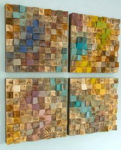 Wood Wall Art mosaic wodd art set of 4 geometric wall art