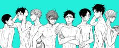 Haikyuu!! - Aobajousai High - Shinji Watari, Issei Matsukawa, Takahiro Hanamaki, Tooru Oikawa, Hajime Iwaizumi, Akira Kunimi, Yuutarou Kindaichi, and Shigeru Yahaba