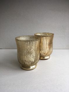 Gold ridged hurricane vases