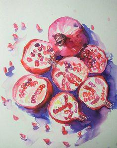 Pomegranates still life original watercolor от orangerinka на Etsy