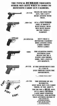 Typical satire responses to gun calibers.