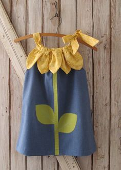 Sunny Flower Pillowcase Dress Girl Sewing by RubyJeansCloset