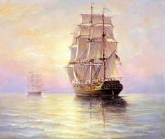 живопись - морской пейзаж, купить картину Белые паруса.худ.С.Минаев(1450)