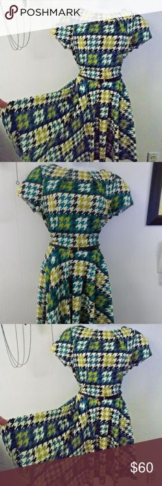 """Closet London Modcloth Luck Be A Lady Dress  NWT Stated size. 16 UK, size.  Measurements would accommodate a size 6-8.  Bust up to 39"""", waist up to 28-29"""". Length from shoulder to bottom 35"""".  Pockets, back zipper closure.  Includes the belt. New with tag. Modcloth Dresses"""