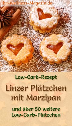 Low Carb Linzer Cookies with Marzipan - simple recipe for Christmas cookies - - Low Carb Bagels, Low Carb Keto, Paleo Dessert, Linzer Cookies, Bagel Recipe, Almond Flour, Christmas Cookies, Cookie Recipes, Easy Meals