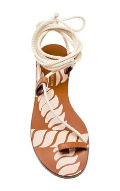 Leather And Cord Fune Wrap Around Sandals by AVEC MODERATION Now Available on Moda Operandi