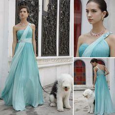 Gradiente azul de cintura com cercadura de diamante - tipo de construção plissada - Um vestido simples noite romântica - Efox.com.pt