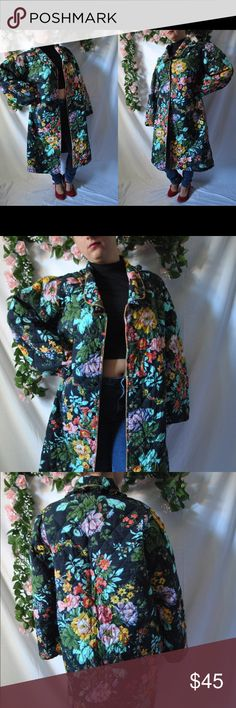 Vintage 70s Floral Quilted Robe Black with a floral pattern.   Quilted material.  6 snap buttons in the front.   Has a frilly collar.   Label: Sita  Size on Label: X3   Materials: 100% cotton   *There is a stain on the inside of the robe, and some loose threads.  Measurements. (Measured Lying Flat.)  Bust: 44 1/2 to 46 in.  Waist: 48 1/2 in.  Hips: 50 in.  Length: 44 in.  Model's Measurements: 36 in., 28 in., 36 in. Model's Height: 5'1   shop more tops here…