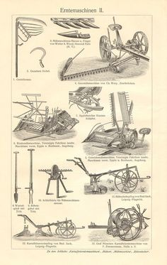1908 Vintage Print of Agricultural Machinery Harvester Antique Tractors, Vintage Tractors, Vintage Farm, Etsy Vintage, Antique Tools, Old Tools, Vintage Tools, Antique Cars, Farmall Tractors