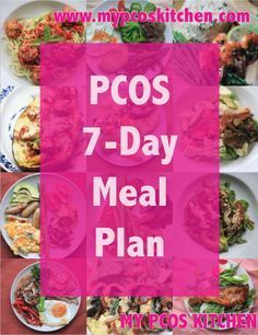 PCOS 7-Day Meal Plan! All gluten-free, sugar-free, rice-free, starch-free! Less than 55g net carbs and between 1200-1800 calories per day! Pictures for every recipe and a grocery list at the end! Nutritional Information is also included for every single recipe and snack!