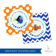 Finding Dory Party Favor Tags  Finding Nemo by SunshineInkStudio