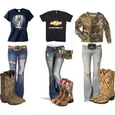 Yes please keywords< Camo Outfit cowgirl boots chevy ripped jeans country girl chevrolet cowboy boots western wear. I have two pairs of boots, my dressy ones and my casual ones. Country Girl Outfits, Country Girl Style, Country Fashion, Country Girls, My Style, Country Wear, Country Chic, Country Girl Clothing, Country Girl Hair