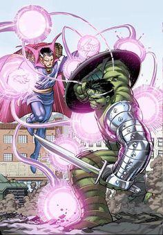 World War Hulk Cover: Hulk and Dr. Strange Marvel Comics Poster - 30 x 46 cm Marvel Comic Character, Comic Book Characters, Comic Book Heroes, Marvel Characters, Comic Books Art, Comic Art, Marvel Dc Comics, Marvel Vs, Marvel Heroes