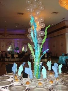Under the sea event diy centerpieces seashells ocean theme under the sea dance themes under the sea theme centerpieces sea kelp with balloon bubbles junglespirit Gallery