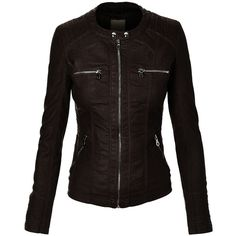 MBJ Womens Faux Leather Motorcycle Jacket With Hoodie ($9.95) ❤ liked on Polyvore featuring outerwear, jackets, faux leather jacket, vegan biker jacket, black jacket, vegan moto jacket and black faux leather jacket