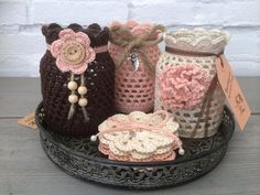 Crocheted jars made by me Crochet Cozy, Crochet Dishcloths, Crochet Gifts, Diy Crochet, Crochet Decoration, Crochet Home Decor, Crochet Flower Patterns, Crochet Flowers, Crochet Jar Covers