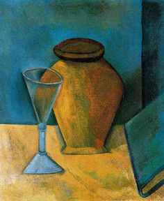 """""""Pot, Glass and Book"""" (1908) by Pablo Picasso. Cubism, African Period, still life. Oil on canvas. Gallery: Hermitage, St. Petersburg, Russia"""