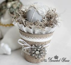 DIY Peat Pots. Decorated. Embellished. Altered ~ Pretty Decorated Peat Pots at The Decorated House