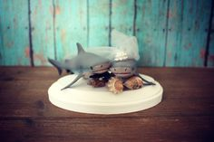 Shark-wedding cake topper-shark lover-beach wedding-bride and groom-fishing-shark fishing-nautical wedding-ocean-destination wedding on Etsy, $49.00