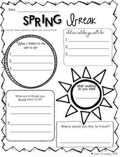 Are you counting down the days to Spring Break like I am? Try these free printables to get your students thinking in those crazy days before the holiday.