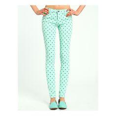 Polka Dot Skinny Jeans ($33) ❤ liked on Polyvore
