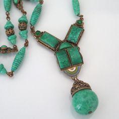 Vintage Signed Czech Art Deco Peking Glass Enamel Dangle Pendant Necklace