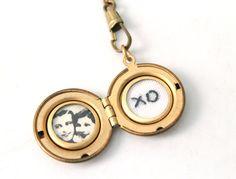 Custom Embroidered Secret Message Photo locket, golden brass round locket necklace.