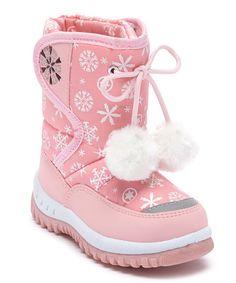 Pink Snowflake Snow Boot