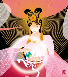 A Divine Feminine transmission from the Galactic Sun. This transmission will bring more openness, compassion, flow and grace into all of your energy bodies. Amaterasu Omikami, Sun Sisters, Japan Picture, Great Paintings, Divine Feminine, Fantastic Art, Book Of Shadows, Gods And Goddesses, Deities