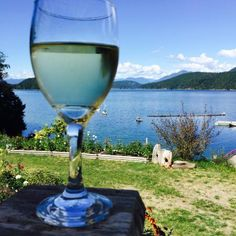 Chardonnay, View of the lake from the patio at Laughing Oyster Restuarant between Lund and Powel