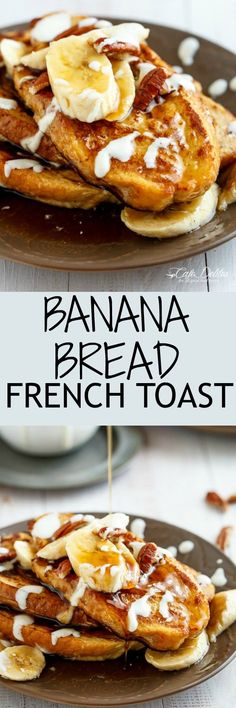 Banana Bread French Toast drizzled with a Cream Cheese Glaze   http://cafedelites.com