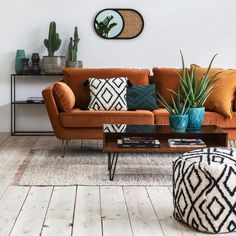 mismatched cushion in the bohemian chic living room cream ecru orange and green Room Design, Orange Sofa, Boho Living Room, Living Room Orange, Apartment Decor, Contemporary Living Room Design, Room Decor, Sofa Decor, Living Room Designs