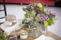 Purple Green Rustic Wedding Decor Centrepiece | Burlap Table Runner    www.WeddingGirl.ca