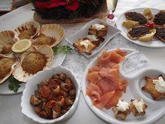 La buona cucina di Katty: Capesante gratinate, salmone affumicato, lumachine di mare....