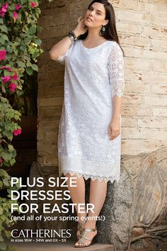 Plus size dresses for Easter, Mother's Day, weddings, graduations and all of your spring events. Shop Catherines Plus Sizes at catherines.com for dresses designed exclusively for sizes 0X-5X and 16W-34W.