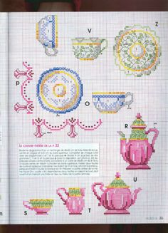 Cross stitch patterns free Tea service tea cup, tea pot and saucer