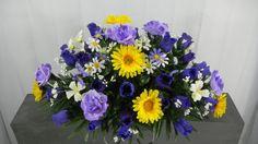 Rose Bush & Daisy Cemetery Flower Deluxe Headstone Saddle