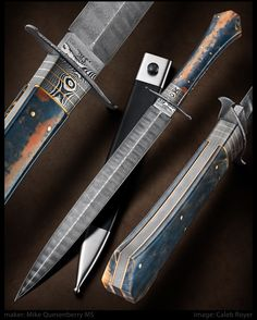 Coffin Handled Dagger by Mike Quesenberry Swords And Daggers, Knives And Swords, Dagger Knife, Knife Art, Damascus Knife, Cool Knives, Handmade Knives, Cold Steel, Custom Knives