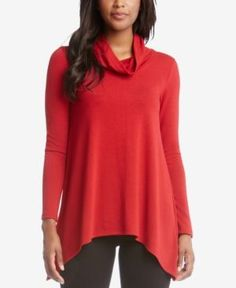 Karen Kane Handkerchief-Hem Sweater - Red XL