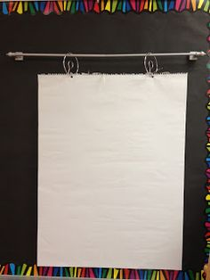 Sugar and Spice: Easy and Cheap Anchor Chart Display! Magnetic curtain rod for anchor chart display. Organization And Management, Teacher Organization, Teacher Tools, Classroom Management, Teacher Stuff, Classroom Design, Kindergarten Classroom, School Classroom, Classroom Decor