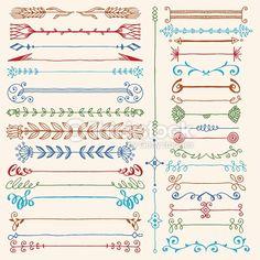 Vector Art : Hand drawn dividers design elements color set. Vector illustration.