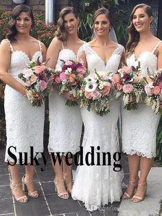 39998dad647 Full Lace Bridesmaid Dresses Tea Length Spaghetti Straps Sheath Maid of  Hour Dresses Sweetheart Cheap Wedding Guest Dress Custom Made