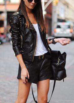 Very edgy, and rocker chic. I love the structured bag.