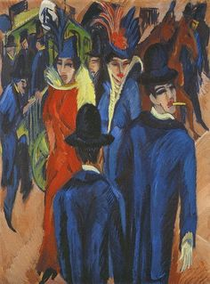 Ernst Ludwig Kirchner - (1880-1938) Berlin Street Scene,  1913 Ernst threw himself into modernist painting styles and the related bohemian lifestyle, making a name for himself as an Expressionist, Fauvist and (organizationally) Die Brücke artist.