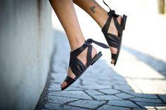 10% Sale, Lola Sandals, Black Tie Sandals, Flat Summer Shoes, Black Leather Sandals, Women's Strappy Sandals