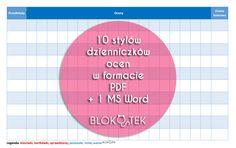 10 stylów dzienniczków ocen w formacie PDF   1MS Word