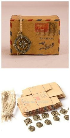 Brown Kraft DIY Vintage Inspired Airmail Favor Box Kit Wanderlust Travel Candy Box with Globe and Compass Charms Cheap Favors, Unique Wedding Favors, Wedding Party Favors, Trendy Wedding, Budget Flowers, Vintage Centerpieces, Jw Gifts, Travel Party, Travel Themes