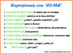 """Expresiones con """"COME"""""""
